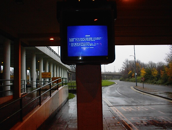 A blue screen at the train station